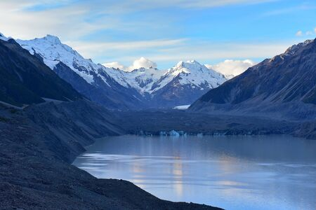 A shrinking Tasman Glacier and surrounding snow mountains in Canterbury, New Zealand