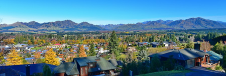 Scenic view of Hanmer Springs town and surrounding hills in Canterbury, New Zealand Stock Photo