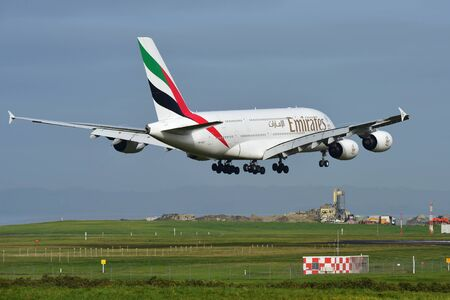 AUCKLAND, NEW ZEALAND - JULY 10:  Emirates A380 super jumbo landing at Auckland International Airport on July 10, 2017 in Auckland