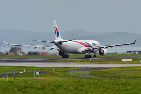 AUCKLAND, NEW ZEALAND - JULY 10:  Malaysia Airlines Airbus A330 taxiing for departure at Auckland International Airport on July 10, 2017 in Auckland