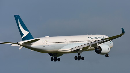 AUCKLAND, NEW ZEALAND - JULY 10: Cathay Pacific Airbus A350 XWB aircraft from Hong Kong landing at Auckland International Airport on July 10, 2017 in Auckland