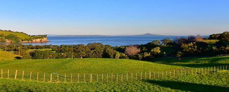 View of Rangitoto Volcanic Island from Te Haruhi Bay in New Zealand Stock fotó