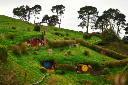 MATAMATA, NEW ZEALAND - AUGUST 2017: A hill in Hobbiton movie set featured in Lord of the Rings and Hobbit movies on August 27, 2017 in Matamata