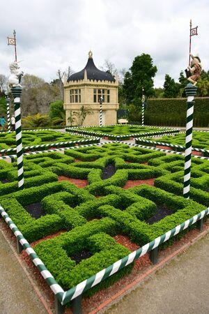 Fantasy-styled Tudor Garden in Hamilton Gardens in New Zealand Stock Photo