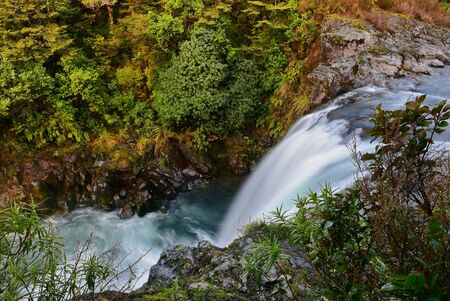 Tawhai Falls also known as Lord of the Rings Gollum Pools, in Tongariro National Park, New Zealand Stock Photo