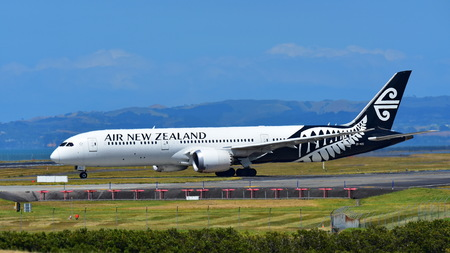 AUCKLAND, NEW ZEALAND - DECEMBER 17: Air New Zealand Boeing 787-9 Dreamliner taxiing at Auckland International Airport on December 17, 2017 in Auckland