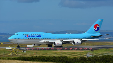 AUCKLAND, NEW ZEALAND - DECEMBER 17: Korean Air Boeing 747-8i super jumbo taxiing at Auckland International Airport on December 17, 2017 in Auckland Editorial