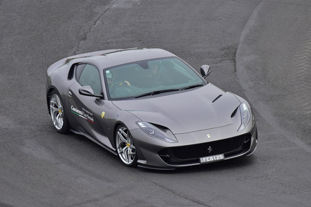 HAMPTON DOWNS, NEW ZEALAND - APRIL 18: Ferrari 812 Superfast driving around circuit at Ferrari Challenge Asia Pacific Series race on April 15, 2018 in Hampton Downs
