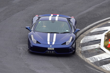 HAMPTON DOWNS, NEW ZEALAND - APRIL 18: Ferrari 458 Speciale driving around circuit at Ferrari Challenge Asia Pacific Series race on April 15, 2018 in Hampton Downs
