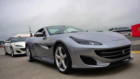 HAMPTON DOWNS, NEW ZEALAND - APRIL 18: Ferrari Portofino on display at Ferrari Challenge Asia Pacific Series race on April 15, 2018 in Hampton Downs Editorial