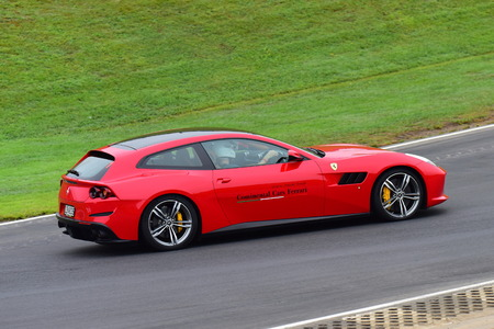 HAMPTON DOWNS, NEW ZEALAND - APRIL 18: Ferrari GTC4Lusso driving around circuit at Ferrari Challenge Asia Pacific Series race on April 15, 2018 in Hampton Downs Editorial