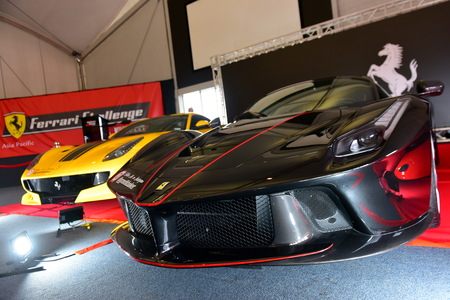 HAMPTON DOWNS, NEW ZEALAND - APRIL 18: Rare Ferrari F12 TDF and LaFerrari Aperta on display at Ferrari Challenge Asia Pacific Series race on April 15, 2018 in Hampton Downs Editorial