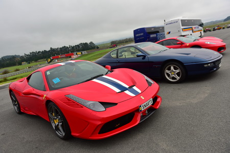 HAMPTON DOWNS, NEW ZEALAND - APRIL 18: Row of Ferrari sports car on display at Ferrari Challenge Asia Pacific Series race on April 15, 2018 in Hampton Downs