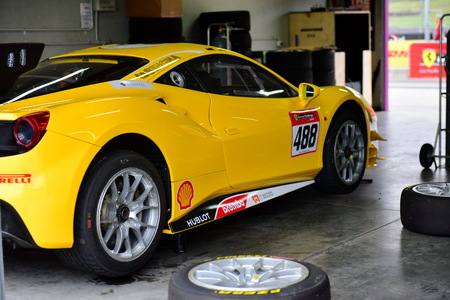 HAMPTON DOWNS, NEW ZEALAND - APRIL 18: Ferrari 488 Challenge in garage at Ferrari Challenge Asia Pacific Series race on April 15, 2018 in Hampton Downs Editorial