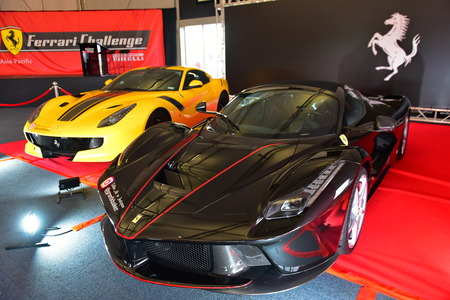HAMPTON DOWNS, NEW ZEALAND - APRIL 18: Rare Ferrari F12 TDF and LaFerrari Aperta on display at Ferrari Challenge Asia Pacific Series race on April 15, 2018 in Hampton Downs Editorial
