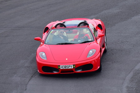 HAMPTON DOWNS, NEW ZEALAND - APRIL 18: Ferrari 430 spyder driving around circuit at Ferrari Challenge Asia Pacific Series race on April 15, 2018 in Hampton Downs