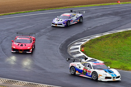 HAMPTON DOWNS, NEW ZEALAND - APRIL 18: Ferrari 488 Challenge cars racing at Ferrari Challenge Asia Pacific Series race on April 15, 2018 in Hampton Downs