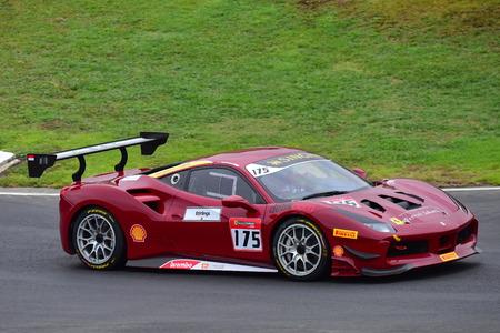 HAMPTON DOWNS, NEW ZEALAND - APRIL 18: Karim Nagadipurna racing in a Ferrari 488 Challenge at Ferrari Challenge Asia Pacific Series race on April 15, 2018 in Hampton Downs