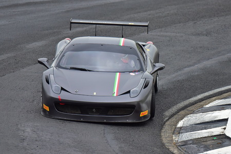 HAMPTON DOWNS, NEW ZEALAND - APRIL 18: Ferrari 488 Challenge driving around race track at Ferrari Challenge Asia Pacific Series race on April 15, 2018 in Hampton Downs Editorial