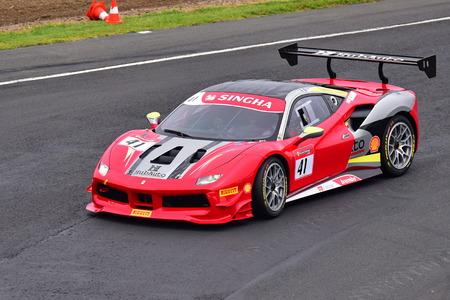 HAMPTON DOWNS, NEW ZEALAND - APRIL 18: Philippe Prette racing in Ferrari 488 at Ferrari Challenge Asia Pacific Series race on April 15, 2018 in Hampton Downs