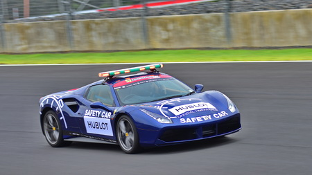 HAMPTON DOWNS, NEW ZEALAND - APRIL 18: Ferrari 488 safety car at Ferrari Challenge Asia Pacific Series race on April 15, 2018 in Hampton Downs