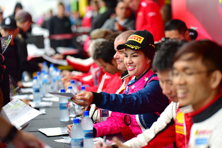 HAMPTON DOWNS, NEW ZEALAND - APRIL 18: Drivers signing autographs at Ferrari Challenge Asia Pacific Series race on April 15, 2018 in Hampton Downs