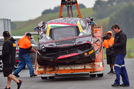 HAMPTON DOWNS, NEW ZEALAND - APRIL 18: Angelo Negros crashed Ferrari 488 Challenge car at Ferrari Challenge Asia Pacific Series race on April 15, 2018 in Hampton Downs