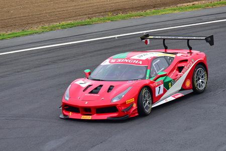 HAMPTON DOWNS, NEW ZEALAND - APRIL 18: Ken Seto racing in a Ferrari 488 Challenge at Ferrari Challenge Asia Pacific Series race on April 15, 2018 in Hampton Downs