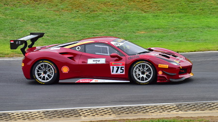 HAMPTON DOWNS, NEW ZEALAND - APRIL 18: Karim Nagadipurna racing in a Ferrari 488 Challenge at Ferrari Challenge Asia Pacific Series race on April 15, 2018 in Hampton Downs