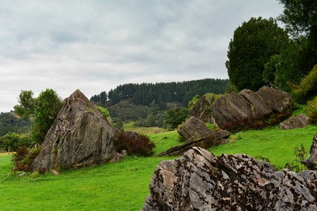 Stunning rock formations at Mangaotaki Valley, the filming location of The Hobbit, an Unexpected Journey, in New Zealand