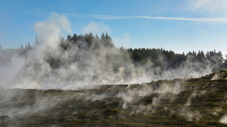 Craters of the Moon geothermal landscape in Taupo, New Zealand Stok Fotoğraf