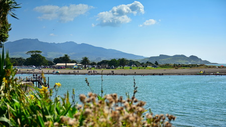 Raglan, a small town popular for its beach in the summer in New Zealand