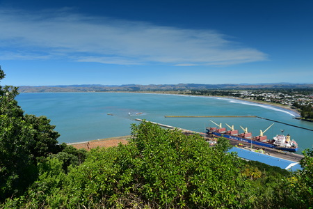 View of Gisborne city and Poverty Bay from Titirangi Domain, Hawkes Bay in New Zealand