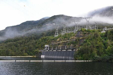 Manapouri Power Station on the western arm of Lake Manapouri in New Zealand