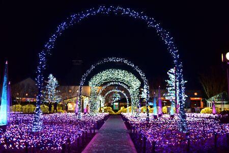 A garden light display at Nabana no Sato in Nagoya, Japan