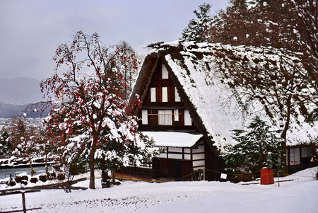 Historic wooden houses from Edo period covered in snow at Hida Folk Village in Takayama, Gifu, Japan