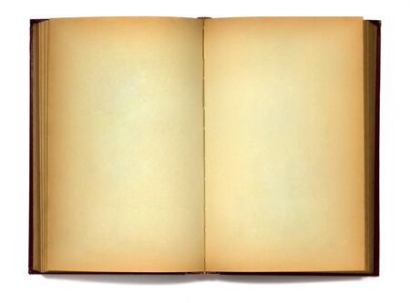 Old book open two face on white background photo