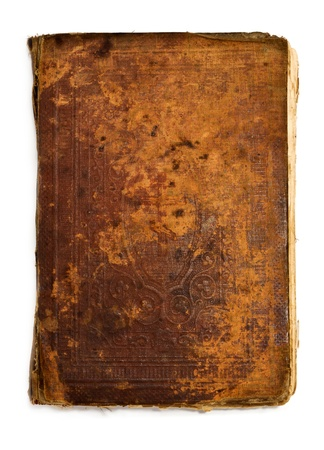 Very old vintage book isolated on white backgrounds photo