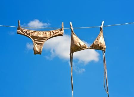 clothesline: gold bra and panty hanging on clothesline