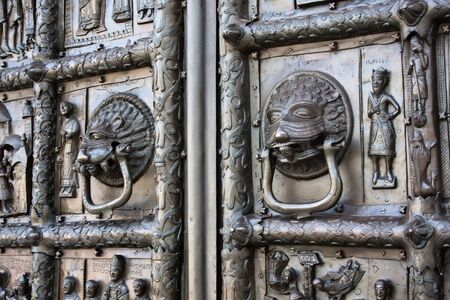 snatched: Famous bronze west entrance gates of St.Sophia Cathedral in Veliky Novgorod allegedly made in Magdeburg in 1156 and reportedly snatched by Novgorodians from Swedish town of SIguna in 1187