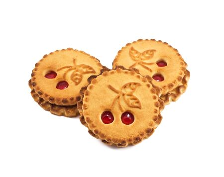 Cookies with cherry jam on a white background Stock Photo - 10607061