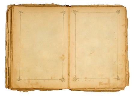 oud document: Zeer oude open boek met een frame