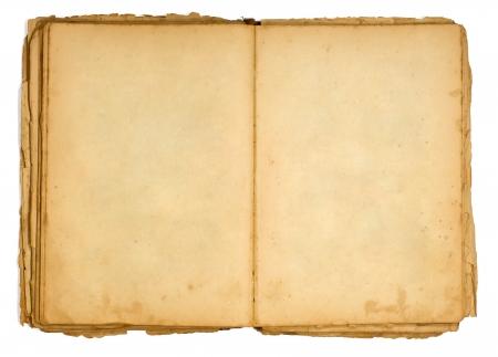 Libro abierto muy viejo y páginas vacías