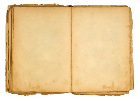 tattered: Very old open book and empty pages   Stock Photo