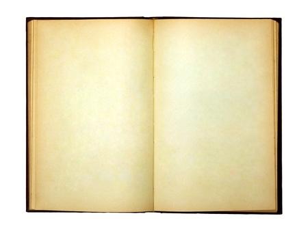 libro abierto: El viejo libro abierto y las p�ginas en blanco Foto de archivo