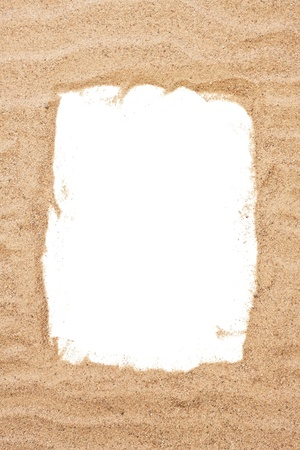 sandy brown: Sea sand frame, holiday concept