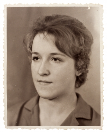 old photograph: Vintage photo of beautiful young woman  circa 1960   Stock Photo