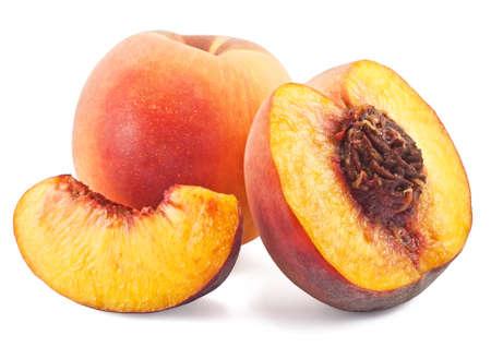 fresh juicy peaches isolated on white background photo