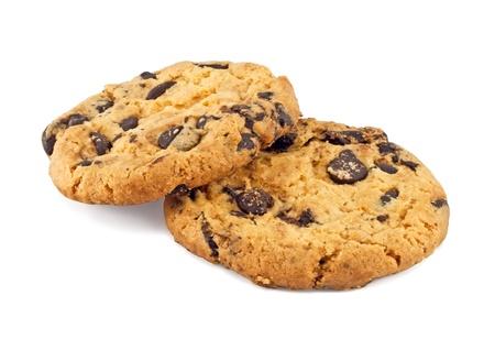 cookie chocolat: biscuits aux brisures de chocolat, isol� sur fond blanc