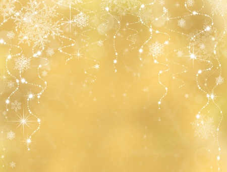 gold snowflakes: Abstract Christmas background. Holiday abstract as background Stock Photo